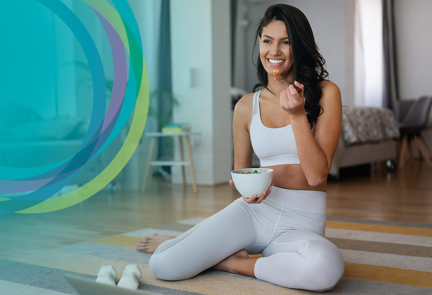 Healthy Woman Eating Vegetables after Workout